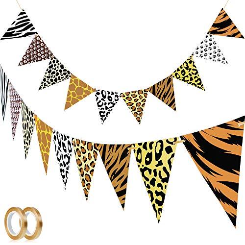 2 Stück Dschungel Safari Banner Tier Thema Bunting Banner Leoparden Bunting Banner und 2 Stück Seil für Baby Party Geburtstag Jahrestag Tier Party Dekoration (Leoparden Muster)