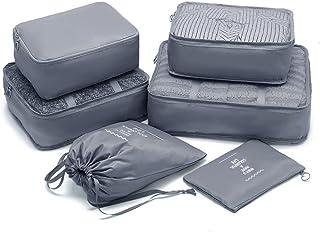 حقيبة السفر المنظم مجموعة حقائب الأمتعة المنظمات لطيف مكعبات التعبئة مجموعة من 6, رمادي-6 مجموعات, Large,