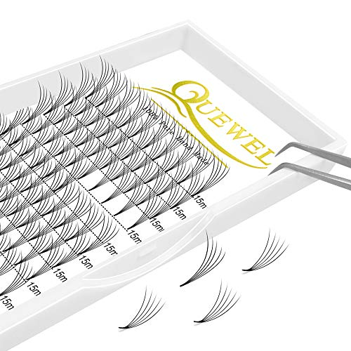 Russian Volume Premade Fans Eyelashes Extension 5D 6D Thickness 0.07/0.10 Curl C/D Length 8-15mm by Quewel(5D-0.07-D, 15mm)