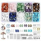 YMHPRIDE Juego de cuentas de cristal de piedras preciosas, con chips naturales irregulares, 600+pcs,10 colores,20 herramientas para hacer collares, anillos, pulseras, pendientes, hacer manualidades
