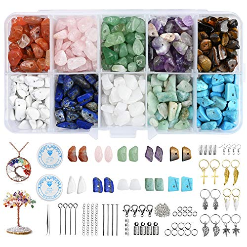 YMHPRIDE Gemstones Crystal Jewellery Beads Natural Irregular Chips Beads Set Crystal Jewellery Making Kit, 600+Pcs 10 Colors and 20 Making Tools for Necklace Ring Bracelet Earring Making DIY Crafts
