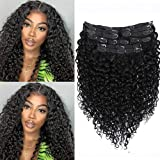 Sibaile 18inch Water Wave Clip In Hair Extensions,Real Thick,Double Weft,Brazilian 8A Remy Human Hair Water Wave Curly Clip ins For Black Women Natural Black Color 120g 10Pcs/Set with 24 Clips