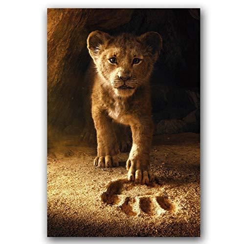 REDWPQ Cartel de la película El Rey León Pinturas Arte de la Pared Impresión de la Lona para la decoración de la Sala de Estar 50X75 cm sin Marco