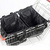 grocery trolley bags - Handy Sandy Reusable Grab Grocery Shopping Tote, METAL Shopping Cart Bags, and Grocery Organizer (Black)