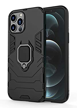 WOW Imagine Apple iPhone 12 / iPhone 12 Pro (6.1-inch) Tough Armor Bumper Back Case Cover   Ring Holder & Kickstand in-Built   Excellent 360 Degree Protection (Carbon Black)