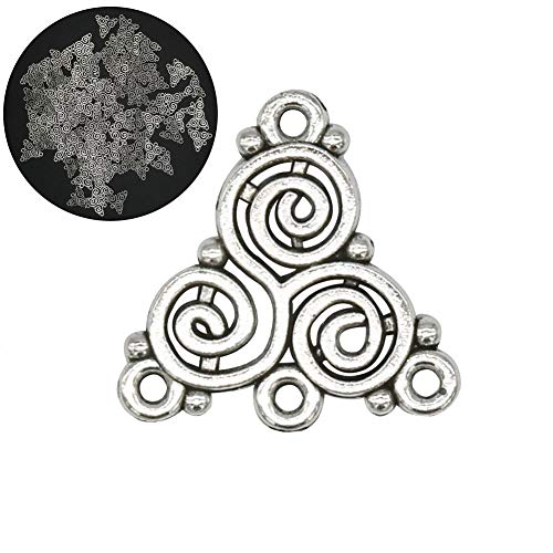 120 Pcs Antique Silver Celtic Triskelion Spiral Charms Connector Triangle Chandelier Components Links Earring Making Jewelry Supplies
