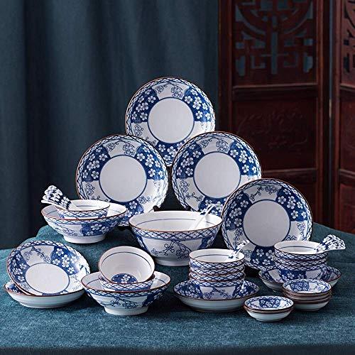 YAeele Tazón de Cereales tazón de cerámica de cerámica del vajilla del Deber-Tenga Platos Platos Cuencos de cucharas Profundo Sopa Cuencos de Porcelana 38pcs tazón de Cereal/tazón de Sopa (Color: AZ