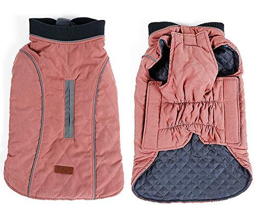 Penivo 6 Farben Haustier Jacke Hundebekleidung Wasserabweisend Winter Warme Kleidung Weste Reversible Winterjacken Mäntel für Kleine Mittelgroße Hund (S, Rosa)