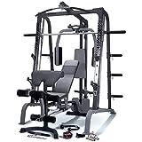 MARCY SM4000 Smith-Maschine Kraftstation mit Hantelbank für Heim-Fitness-Studio, Schwarz, One Size