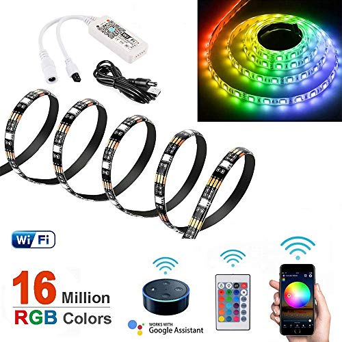 2m WiFi Smart LED Strip Light Trabaja con Amazon Alexa y Google Home DC5V Impermeable USB Powered con Wifi Remote Control para Home Party Decor