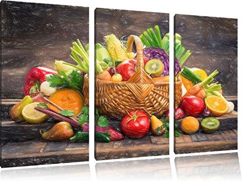 Pixxprint Frisches Obst und Gemüse im Korb ALS Leinwandbild/Größe: 3 Teilig (120x80 cm) cm/Wandbild/Kunstdruck/fertig bespannt