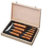 OPINEL - La Collection 10 Couteaux Carbone - Couteaux Collection OPINEL Carbone - Couteaux Pliants N°02 à N°12 - OPINEL COFFRET en Chêne - Couteaux Acier au Carbone - Manche en bois de Hêtre