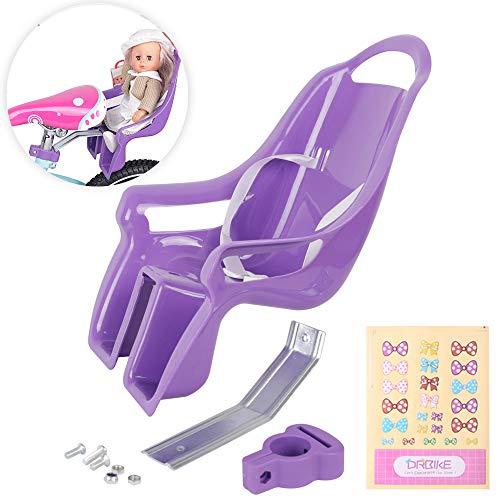 DRBIKE Doll Bike Seat for Girls Bike Attachment for 12 14 16 18 20 Inch Bike American Girl Kids Children Bike Accessories for Doll Purple