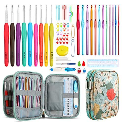 KOKNIT Full Crochet Hook Set, Soft Handle Crochet Knitting Needles Kit with...