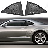 CHENGQIAN Auto Rejilla de Ventana Trasera Auto Parts Chuang Qian Side Window Scoop Louvers Abs Window Mask Cover Sun Rain Umbrella Vent Fit For 2010-2015 Chevy Camaro LS Lt RS SS Rear Window.