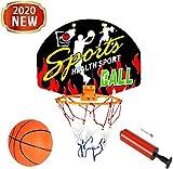 MUANSER Mini Wall Basketball Goal Backboard Rim Indoor Toys Set para Piscina, montado en la Pared con Red de Pelota y Bomba Portátil de Interior al Aire Libre para niños,C