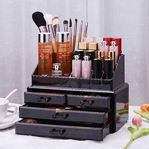 Yxsd Support de Rangement pour Organisateur de Stockage avec Affichage cosmétique, Bijoux de Maquillage, 4 tiroirs - Noir