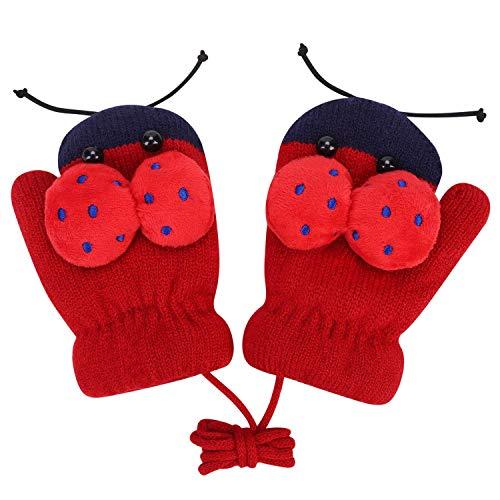 Kinderen Peuters Handschoenen op String Cartoon Ladybird Patroon Winter Handschoenen Gebreide Warm Wanten Meisjes Jongens Mooie Dieren Handschoenen Volledige Vinger Hand Warmer Ski Running Outdoor Handschoenen voor Kinderen 0-3 Jaar