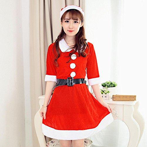 Il vestito di natale delle donne calza il manicotto mezza del velluto rosso di natale con un formato della cinghia