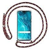 Coque transparente pour Huawei Honor 9X Lite avec cordon rose/doré