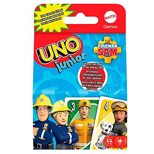 Mattel Games HFC80 - UNO Junior Feuerwehrmann Sam Kartenspiel mit 56Karten, für 2-4 Spieler, ab 3 Jahren