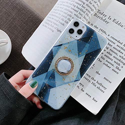 Goud Poeder Geometrische Marmeren Ring Houder Telefoon Case Voor iPhone 11 Pro Max XR X XS Max 7 8 6 Plus Case Soft Epoxy Telefoon Cover Bag, H, Voor iphone XR