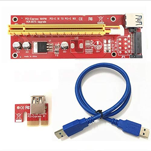 Occus - Cables VER 007S Red PCI-E PCI E Express 1X to 16X Graphics Card Riser Card SATA Molex Power Supply with USB 3.0 Cable for Bitcoin Miner - (Cable Length: About 60cm, Color: RED New Version)