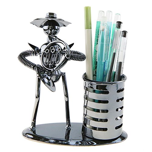 Music Musician Theme Iron Hat Man Art Steel Metal Creative Personality Pen Holder Pencil Holder Cup Pot Office Students Desktop Music Decoration Decor Toy Gift Ornaments(A20012 French Horn)