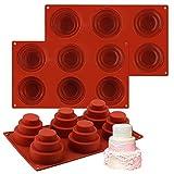 Stampi in Silicon per Torta a più Livelli, 3pcs 6 cavità Mini teglia in Silicone per Torta a 3 Livelli, Stampo per Cupcake a più Livelli Stampo per Cupcake Rotondo Fai-da-Te Teglia per Dolci
