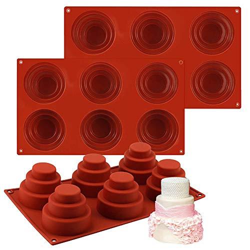 Tiered Cake Moulds, 3 Stück 6 Cavities Mini 3 Tier Cake Silikonpfanne, Multi Tiered Cupcake Mold DIY Runde Cupcake Pudding Keks Schokolade Backform Antihaft Silikon Backform