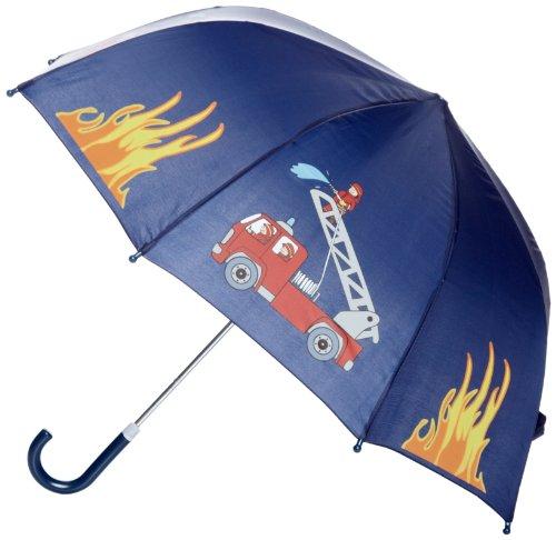 Playshoes Jungen Regenschirm Feuerwehr Design Regenmantel, Blau (Original), (Herstellergröße: One Size)