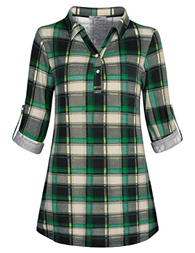 Cestyle Boutique Clothing Women, Juniors Cute Plaid Sweater Flare Tunic A-Line Blouse House Designer Contemporary Cozy Basic Christmas Button Up Blouse Pleated Modest Going Out Top for Office Green L