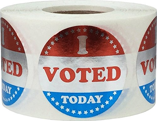 Metallic Silver I Voted Today Circle Stickers, 1 1/2 Inches Round, 500 Labels on a Roll