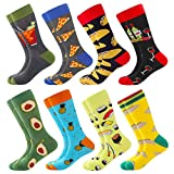 Men's Fun Dress Socks Patterned Crew Colorful Funky Fancy Novelty Funny Casual Socks for Men, 8 Pairs-redwine, US 8-12 / EU 41-46