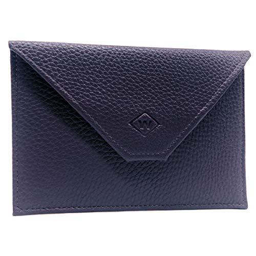 Charmoni - Porte Papiers Voiture - forme Enveloppe - pochette Permis De Conduire Carte Grise assurance carte d'identité - cuir - 15x11cm (Taille unique, bleu foncé cuir RFID)