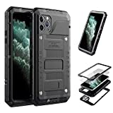 3C-Aone iPhone 11 Pro Max Case,Built-in Screen Defender Military Grade Drop Protection Luxury Aluminum Alloy Protective Heavy Duty Shell for Apple iPhone 11 Pro Max 6.5'' (Black)