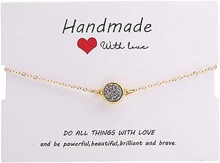 SUMMER LOVE Round Druzy Solitaire Bracelet Sparkly Druzy Adjustable Gold Chain Bracelet Minimalist Delicate Jewelry for Women
