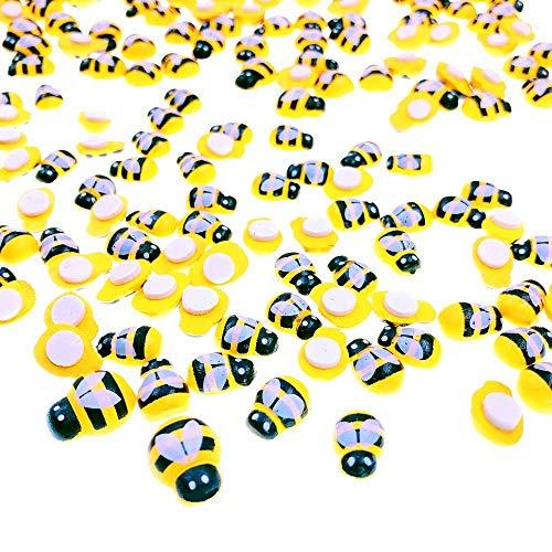 JZK 200 x Selbstklebend Mini Holz Bienen Holzbienen Dekobienen Biene für Handwerk Karte Scrapbooking Deko DIY