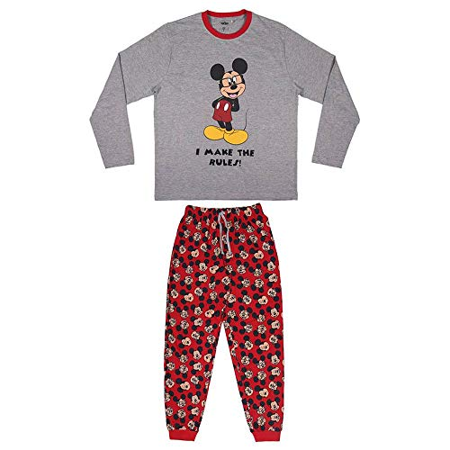 CERDÁ LIFE'S LITTLE MOMENTS Hombre Pijama Mickey Mouse-Licencia Oficial Disney, Gris, M