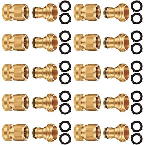 Riemex Garden Hose Quick Connector Set Solid Brass 3/4 inch GHT Water Fitings Thread Easy Connect No-Leak Male Female Value (10, Internal Thread Quick Connector) IQC-10