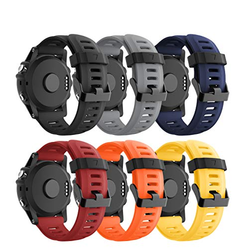CSVK Garmin Fenix 3/Fenix 5X Watch Band, Soft Silicone Replacement Watch Accessory Strap for Garmin Fenix 3/Fenix 3 HR/Fenix 5X /5X Plus/Descent Mk1 Smart Watch (A,6 Pack)