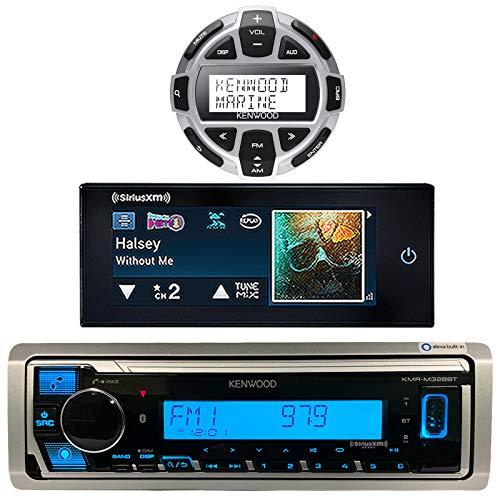 Kenwood Single DIN Marine Digital Media Bluetooth Receiver Bundle Combo with Wired Remote and Satellite Radio Commander Touch Mobile System