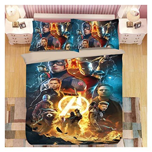 NGLQWA Juego De Sábanas De 4 Piezas para Niños Colección Ropa De Cama Ropa Comics Marvel Colcha De Microfibra Ultra Suave (Color : Marvel18, Size : Queen:90'x90')