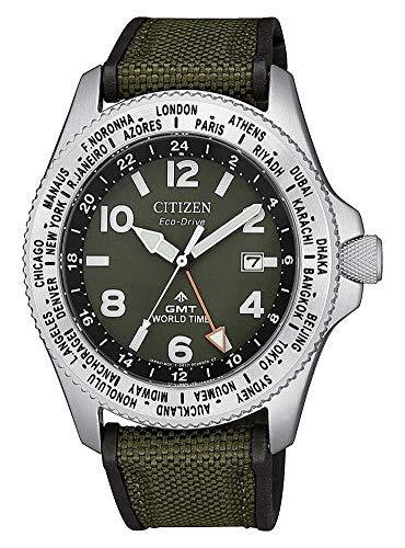 Reloj de Cuarzo Citizen Promaster, Eco Drive B877, 42 mm, Verde, GMT, BJ7100-23X
