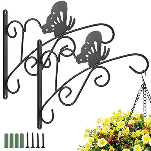 Luxspire Hanging Plant Hooks 2 Pack, Iron Butterfly Pattern Planter Flower Pot Lantern Bird Feeder Wind Chimes Holiday Decoration Hanger for Indoor Outdoor Patio Lawn Garden Balcony, Black