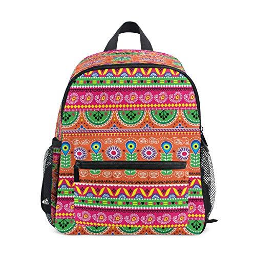 RXYY Kinder Rucksäcke Stammes Geometrisch indisch Tagesrucksäcke Reise Kleinkind Vorschule Schule Tasche Beiläufig Rucksack mit Truhe Gurt zum Mädchen Jungs