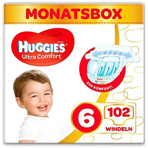 Huggies Windeln Ultra Comfort Baby Größe 6 Monatsbox, 1er Pack (1 x 102 Stück) 3 x 34 Stück