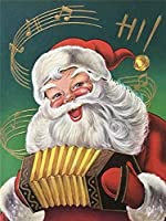 GHXCTKU 完全なダイヤモンドのステッカー インテリア クリスマス プレゼント ホーム レストラン 装飾 クリスタル ラインストーン バイオリンを弾くサンタクロース 30*40cm