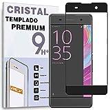 REY Protector de Pantalla Curvo para Sony Xperia XA, Negro, Cristal Vidrio Templado Premium, 3D / 4D / 5D