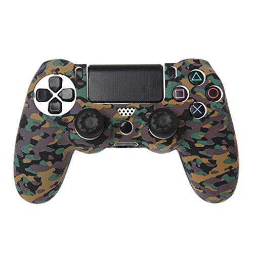 wjf PS4 Controller Silikon, Silikonschutz der Controller-Box + 2 Für Kappen-Kits PS4-Game-Controller, Schädel Feuer